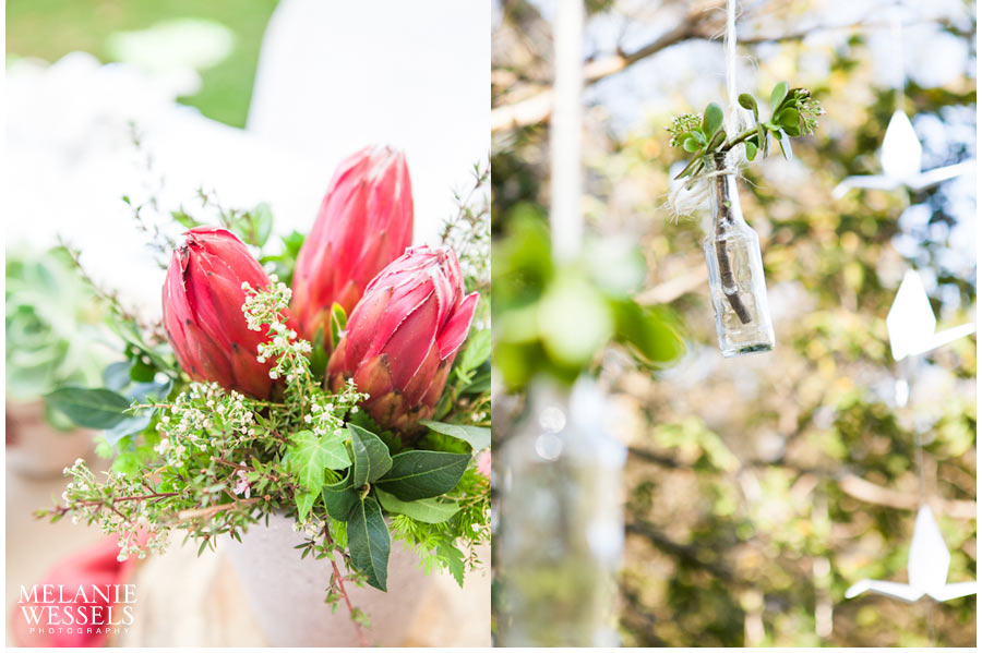 protea and succulent wedding decor